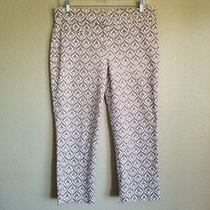 new york & co white print summer crop pants sz 6